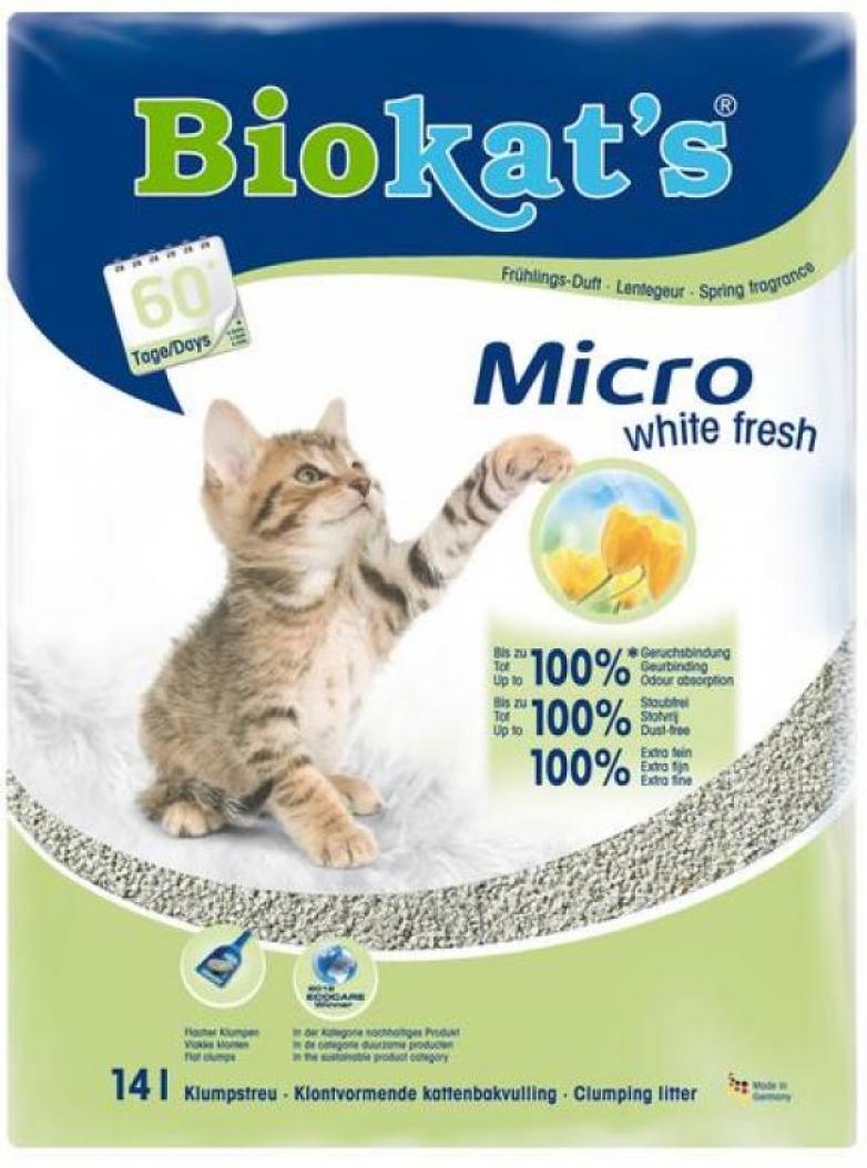 BioKats Micro white fresh комкующийся наполнитель для кошачьих туалетов, без запаха 14 л
