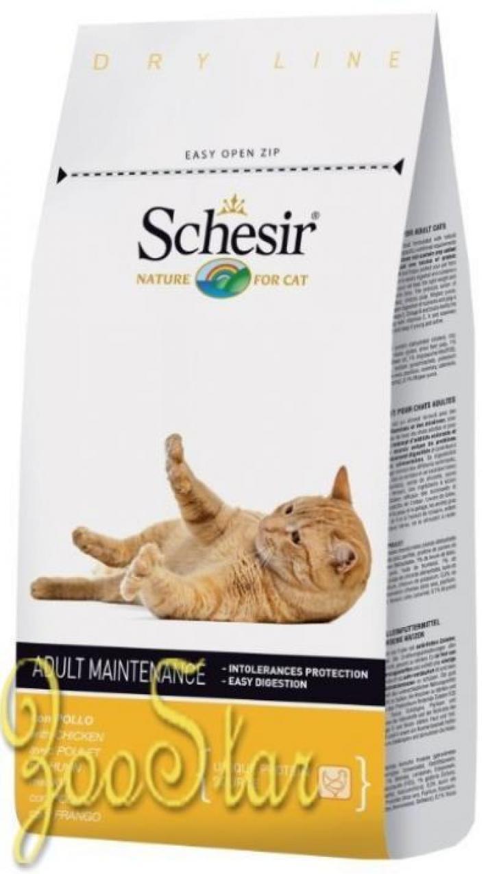 Schesir корм для взрослых кошек всех пород с курицей 1,5 кг