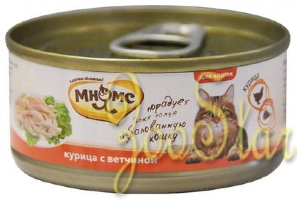 Мнямс влажный корм для взрослых кошек всех пород, курица с ветчиной 70 гр