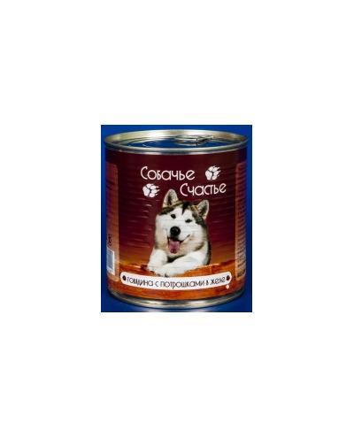 Собачье Счастье влажный корм для взрослых собак всех пород, говядина и потрошки в желе 750 гр