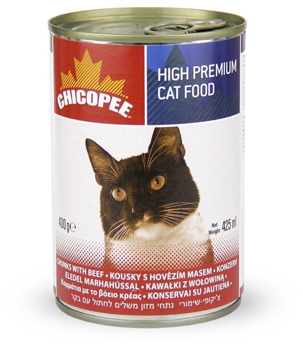 Chicopee влажный корм для кошек всех пород, с кусочками говядины в соусе 400 гр