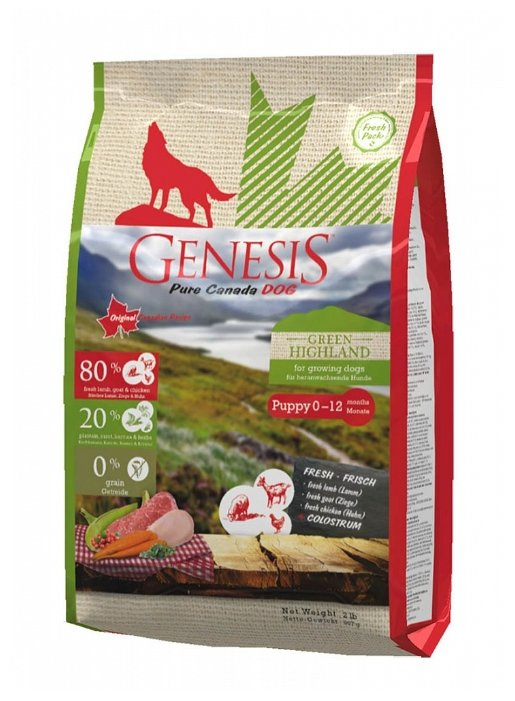 Genesis корм для щенков всех пород, курица, коза и ягненок 907 гр