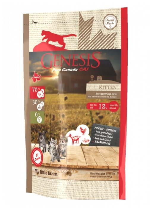 Genesis корм для котят всех пород, утка, коза и курица 340 гр