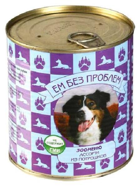 Ем Без Проблем влажный корм для взрослых собак всех пород, ассорти из потрошков 750 гр