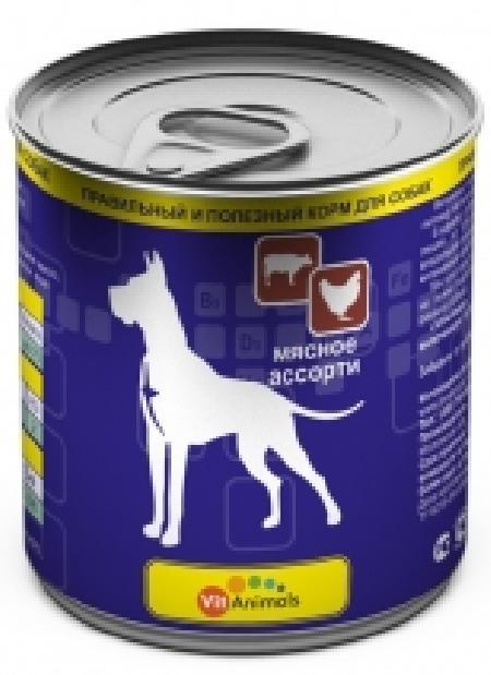 VitAnimals влажный корм для взрослых собак всех пород, мясное ассорти 750 гр