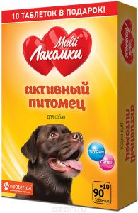 MultiЛакомки витаминное лакомство для взрослых собак всех пород, с L-карнитином 100 таб