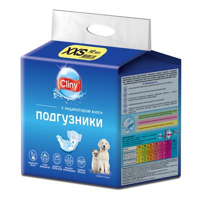 Cliny Подгузники для кошек и собак 1-2,5 кг размер XХS (12шт) K213, 0,184 кг