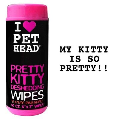 Pet Head ВИА Салфетки гипоаллергенные Вкусный Ананас от линьки у кошек, без сульфатов и парабенов, 50 шт. (PRETTY KITTY) PH10407, 0,100 кг, 50452