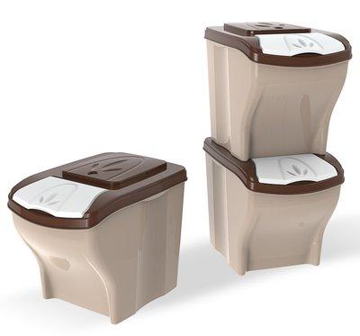 BAMA PET контейнер для хранения корма POKER 20л 45х40х28h см, 3 шт. в комплекте, бежевый, 40295