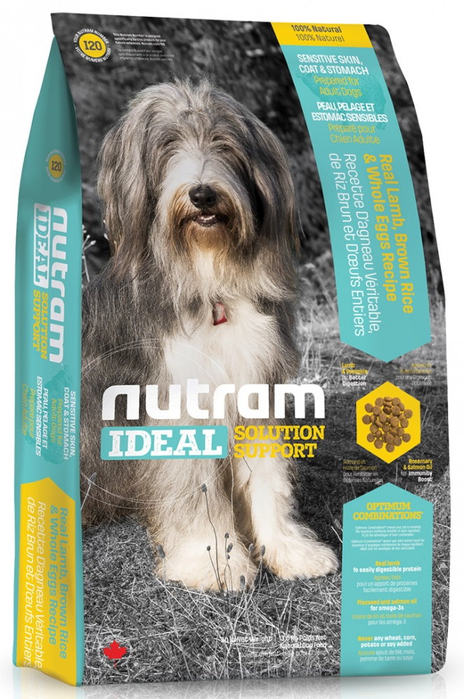 Nutram I20 sensitive skin coat stomach dog корм для собак Блестящая Шерсть Ягненок 13,6кг, CDK98236