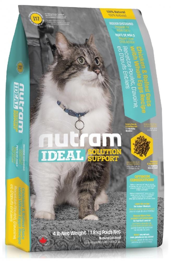 Nutram I17 indoorsheddingсat корм для кошек Блестящая Шерсть Кура 1,82кг, CKK98253