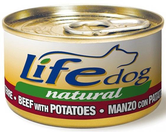 Lifedog beef&potatoes Деликатес для собак ГовядинаКартофель  в соусе банка 90гр 124