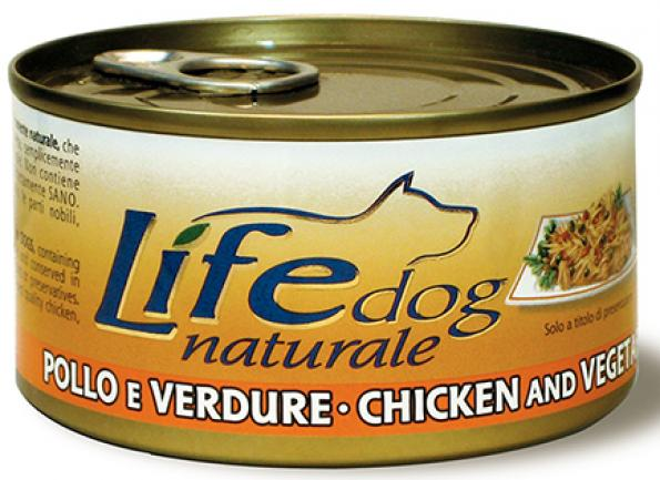 Lifedog chicken&vegetables Деликатес для собак КураОвощи в желе банка 170гр 124
