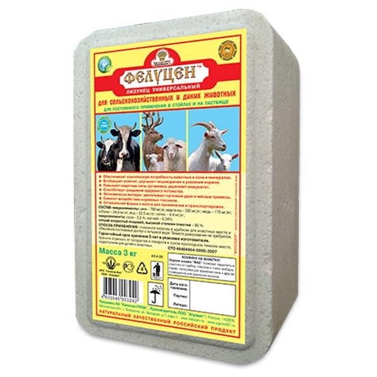 Фелуцен лизунец 3кг. универсальный,дКРС,коз,овец. 12