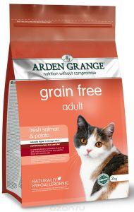 Arden Grange корм для взрослых кошек всех пород, беззерновой, лосось и картофель 2 кг