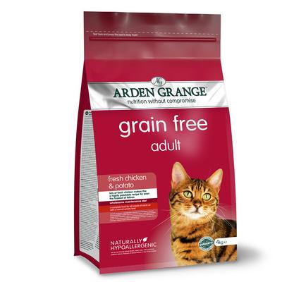 Arden Grange корм для взрослых кошек всех пород, беззерновой, курица и картофель 4 кг