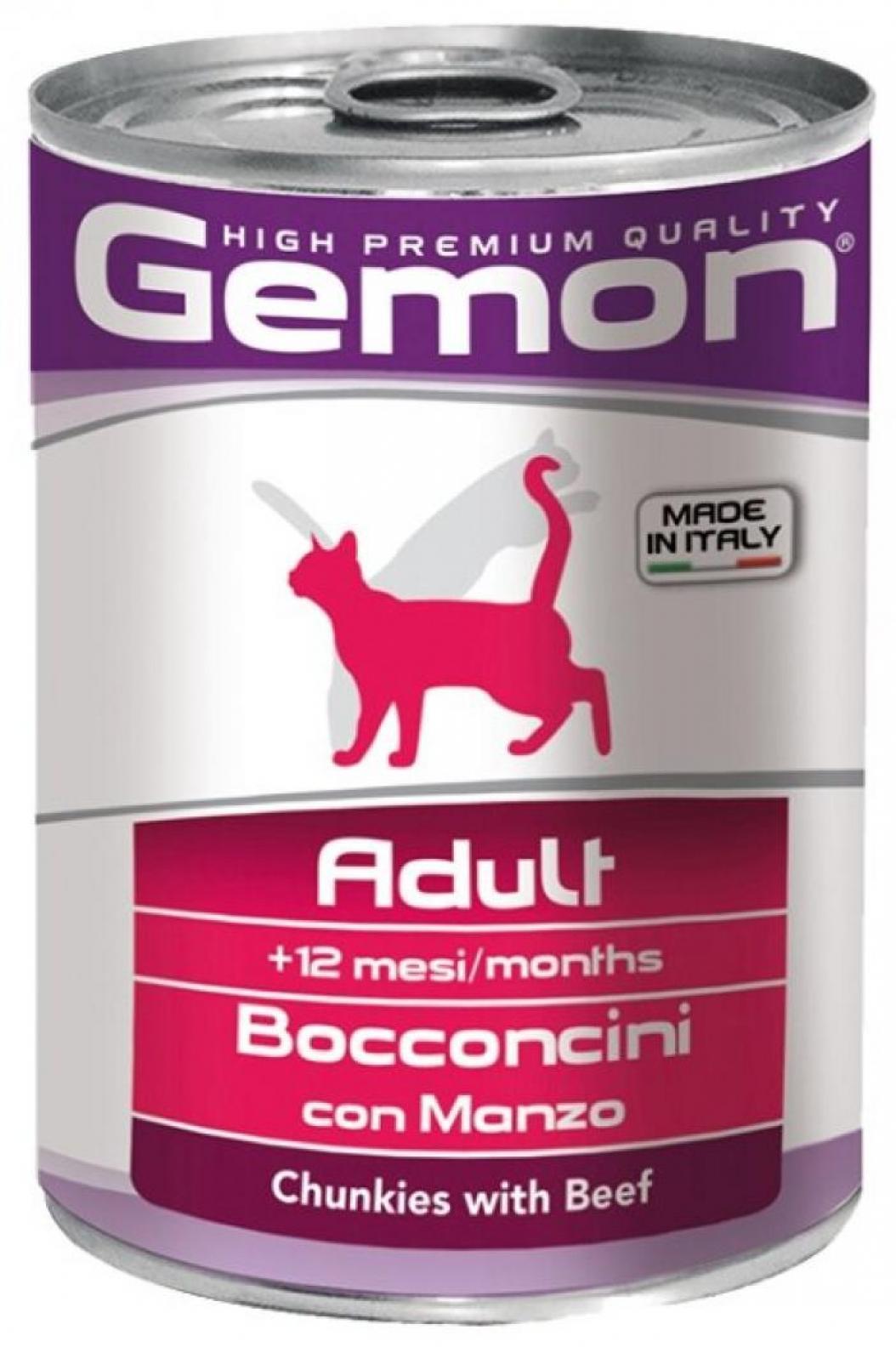 Gemon влажный корм для взрослых кошек всех пород, кусочки индейки 415 гр