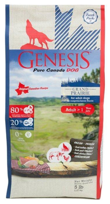 Genesis корм для взрослых собак всех пород, чувствительное пищеварение, курица, буйвол и перепелка 2,268 кг