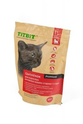TiTBiT Сухой корм для активных кошек с цыпленком (9208), 0,400 кг