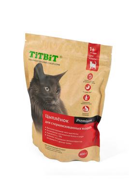 TiTBiT Сухой корм для стерилизованных кошек с мясом Цыпленка 9161, 0,400 кг
