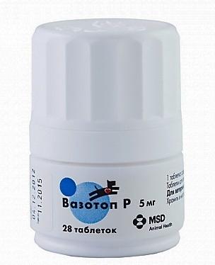 Intervet Вазотоп,3 х 28 табл. по 5 мг. 695, 0,020 кг