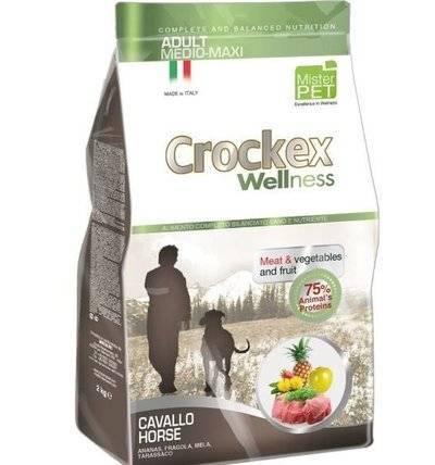 CROCKEX Wellness корм для взрослых собак средних и крупных пород, конина с рисом 12 кг
