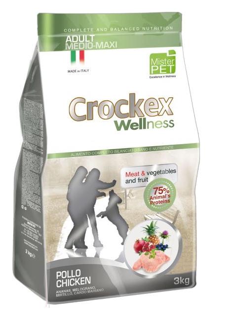 CROCKEX Wellness корм для взрослых собак средних и крупных пород, курица с рисом 3 кг