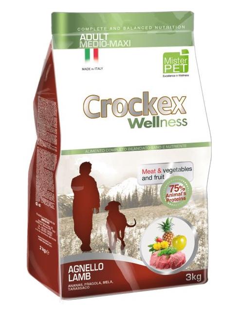 CROCKEX Wellness корм для взрослых собак средних и крупных пород, ягненок с рисом 3 кг