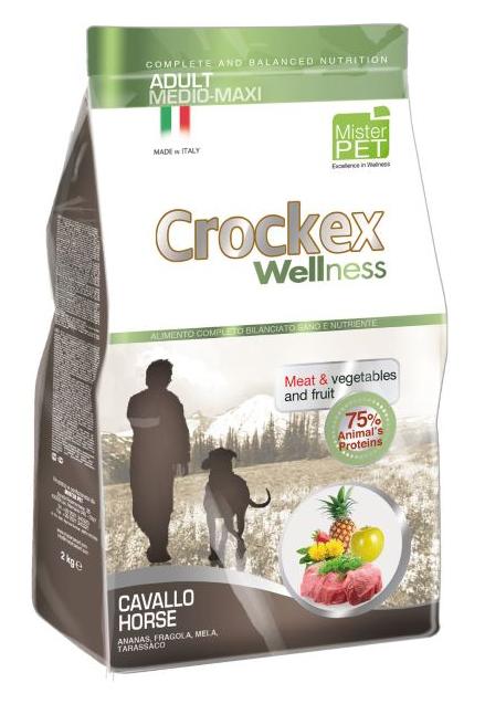 CROCKEX Wellness корм для взрослых собак средних и крупных пород, конина с рисом 3 кг