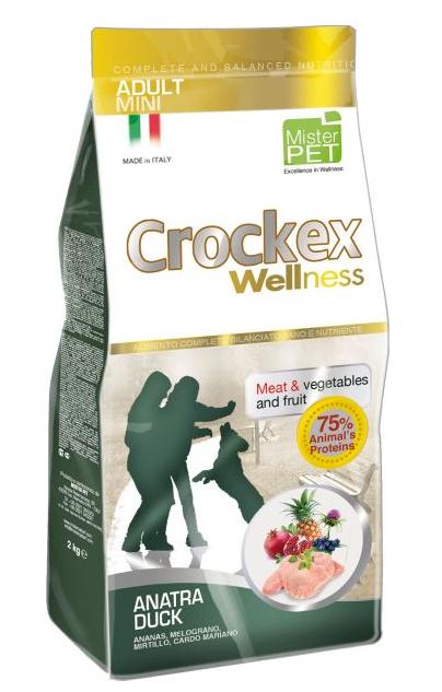 CROCKEX Wellness корм для взрослых собак малых пород, утка с рисом 2 кг