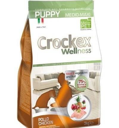 CROCKEX Wellness корм для щенков средних и крупных пород, курица с рисом 3 кг