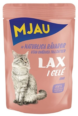 Mjau влажный корм для кошек всех пород и возрастов, лосось в желе 85 гр