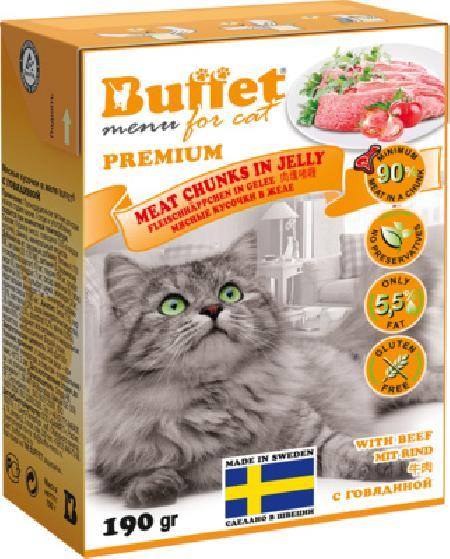 Buffet Кусочки в желе для кошек с говядиной 70445, 0,190 кг