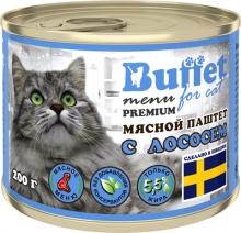 BUFFET мясной паштет для кошек с ЛОСОСЕМ (ж/б 200г) 9811