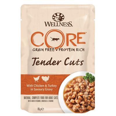 Wellness CORE Паучи для кошек в виде нарезки, курица с индейкой в соусе 10665, 0,085 кг, 54025
