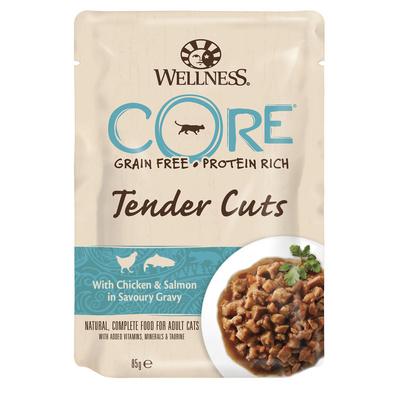 Wellness CORE Паучи для кошек в виде нарезки,курица с лососем в соусе 10660, 0,085 кг, 54027