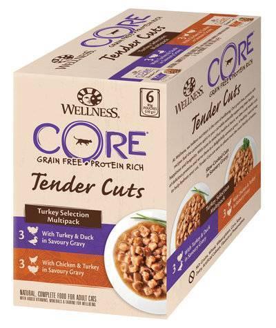 Wellness Core влажный корм для взрослых кошек всех пород, кусочки индейки, ассорти 510 гр