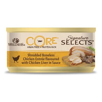 Wellness CORE Консервы для кошек в виде фарша, курица с куриной печенью в соусе 10631, 0,079 кг, 54021
