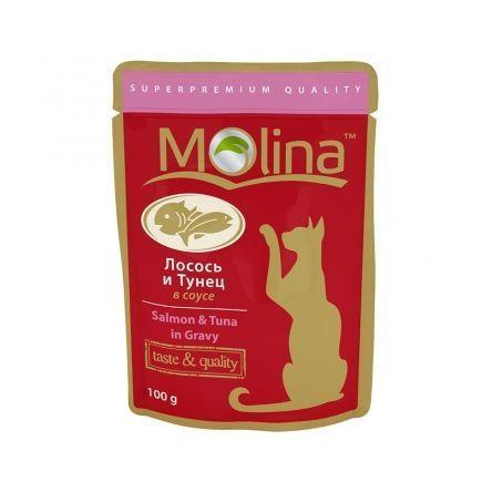 Molina влажный корм для взрослых кошек всех пород, лосось и тунец в соусе 100 гр