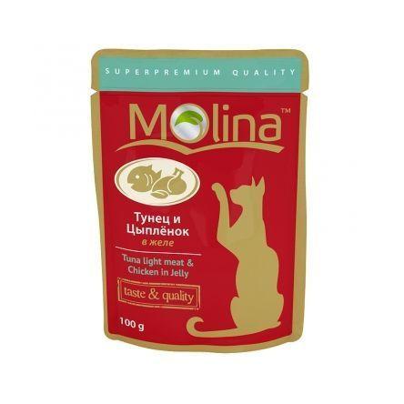 Molina влажный корм для взрослых кошек всех пород, тунец и цыпленок в желе 100 гр