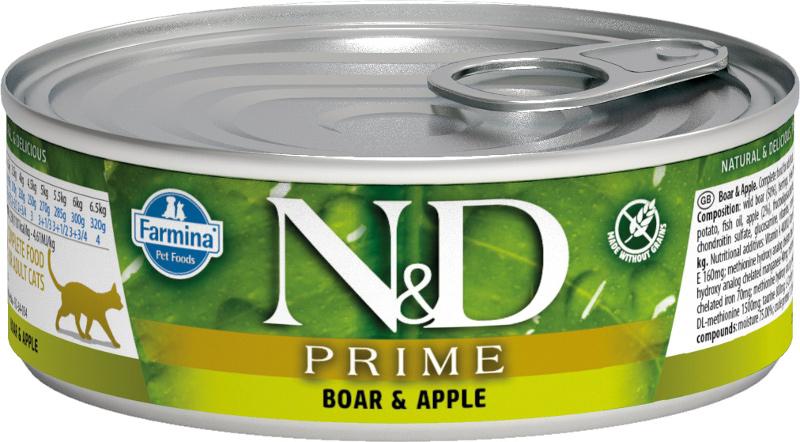 Farmina влажный корм для взрослых кошек, беззерновой, кабан и яблоко 80 гр