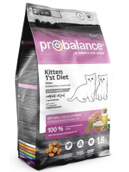 Probalance Сухой корм для котят, первый рацион с 2 месяцев, с цыпленком 50 PB 182, 10,000 кг