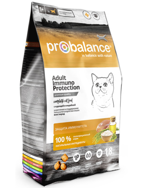 Probalance Сухой корм для кошек, укрепление и поддержание иммунитета, с курицей и индейкой 50 PB 030, 10,000 кг