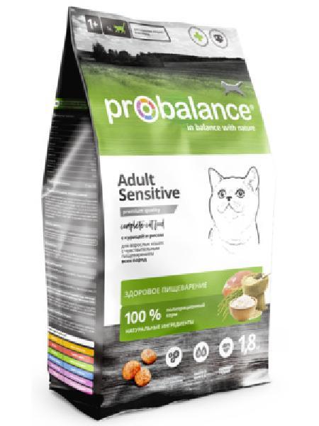 Probalance Сухой корм для кошек с чувствительным пищеварением, с курицей и рисом 38 PB 194, 1,800 кг