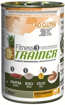 Трейнер 035987 Fitness3 No Gluten Adult Medium/Maxi кон.д/собак средних и крупных пород с Уткой и рисом 400г, 41126