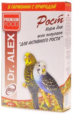 Dr.Alex ВИА Корм для волнистых попугаев Рост, 0,500 кг, 45178