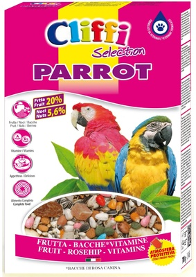 Cliffi (Италия) Для попугаев с ягодами фрутти и орехами (Super Premium Parrot) PCOA004, 0,500 кг