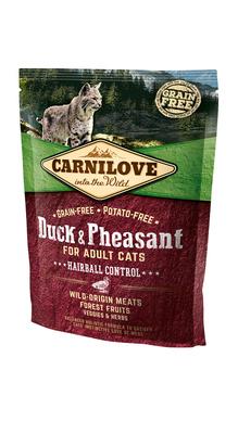 Carnilove корм для взрослых кошек всех пород, вывод шерсти, беззерновой, утка и фазан 6 кг