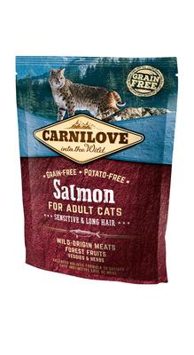Carnilove Сухой корм для взрослых кошек Salmon for Adult Cats Sensitive & Long Hair с лососем 512294, 0,400 кг, 54522