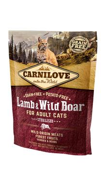 Carnilove Сухой корм для кастрированных котов Lamb & Wild Boar for Adult Cats Sterilised с ягненком и диким кабаном 512324, 0,400 кг